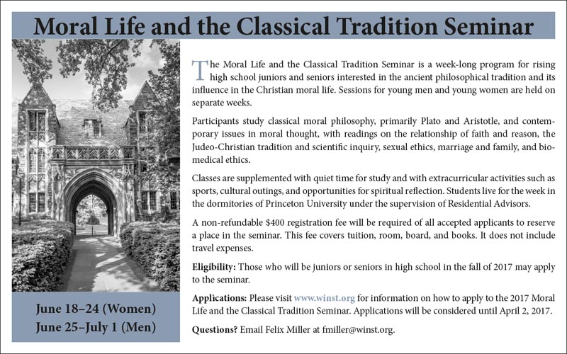 Moral Life and the Classical Tradition Seminar